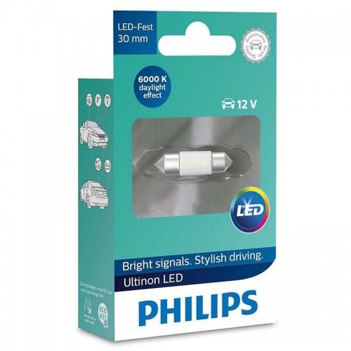 Λάμπα Philips Τύπου C5W 30mm Ultinon Led 6000K 12V 0.6W