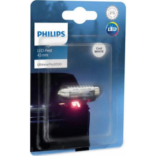 Λάμπα Philips Festoon Ultinon Pro3000 Led 43mm 6000K 12V 0.6W