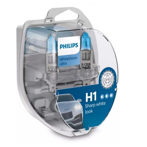 Λάμπες Philips H1 12V 55W White Vision Ultra έως 4000K και 60% Περισσ. Φως
