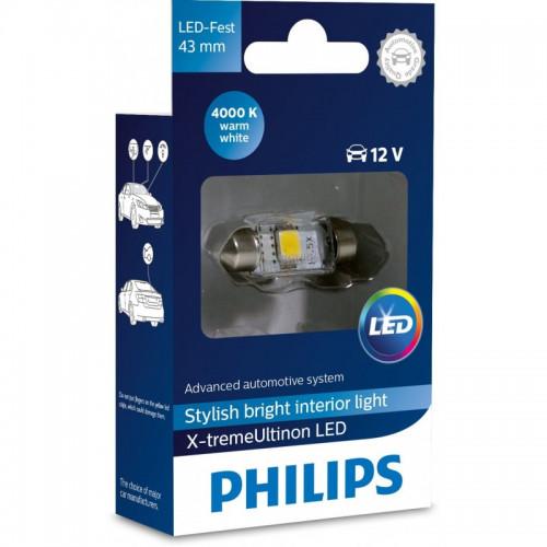 Λάμπα Philips Festoon X-Treme Ultinon Led 43mm 4000K 12V 1W